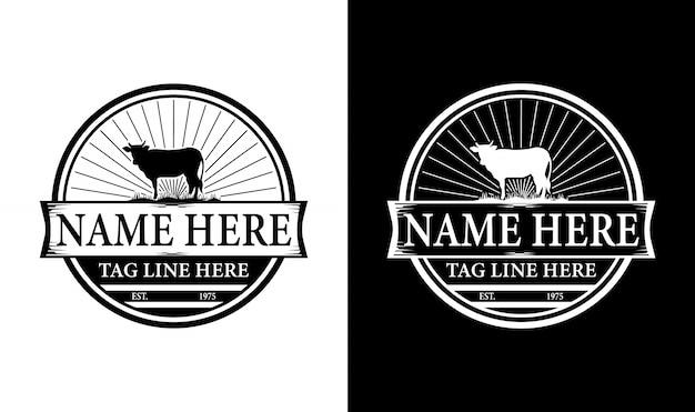Elegante rinder vintage retro abzeichen label emblem logo design inspiration