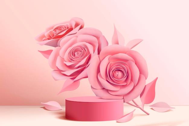 Elegante rosa papierblumen und bühnensäule im 3d-stil