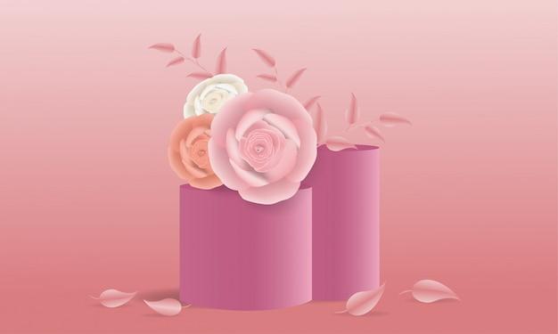 Elegante rosa papierblumen und stufenspalte in der illustration 3d