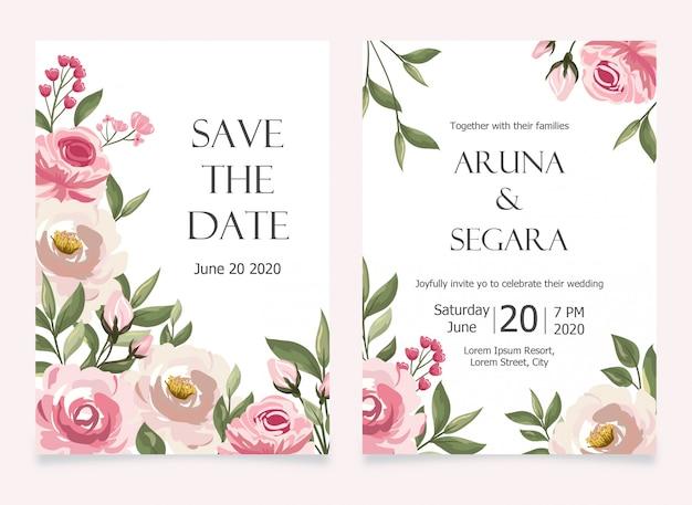 Elegante rosenblumenhochzeitseinladungssetkartenvorlage