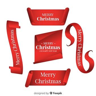 Elegante rote bandsammlung des weihnachten