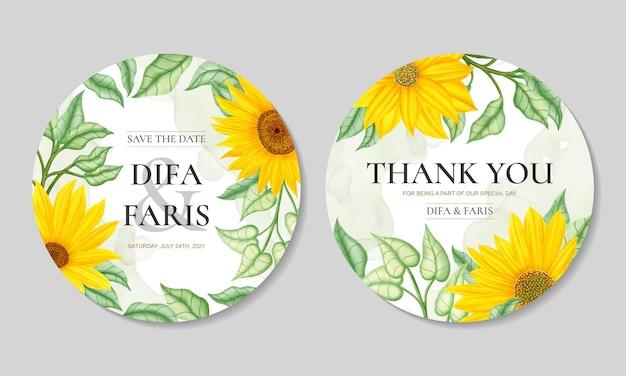 Elegante runde hochzeitseinladungsschablone mit sonnenblumenrahmen
