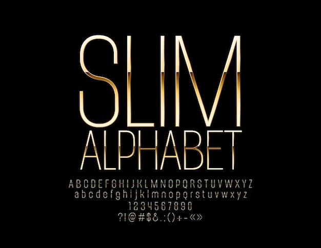 Elegante schlanke alphabet buchstaben und zahlen gold luxus schriftart