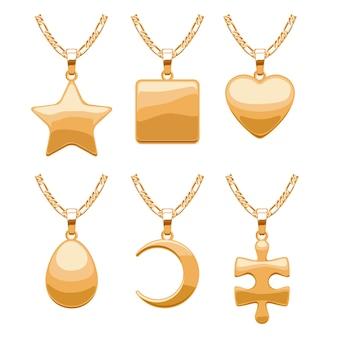 Elegante schmuckanhänger für halskette oder armband. verschiedene formen - abstraktes herz, perle, stern, mond, quadrat. gut für schmuckgeschenk.