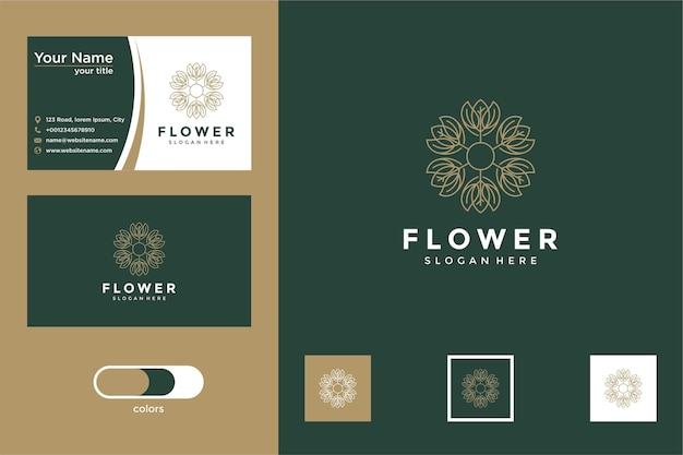 Elegante schöne blume mit linienstil-design und visitenkarte