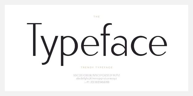 Elegante schrift ohne serifenstil moderne typografie buchstaben und zahlen. groß-und kleinbuchstaben. minimal