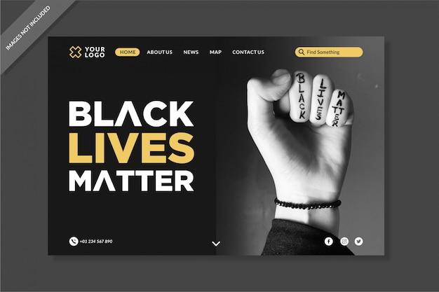 Elegante schwarze live matters landing pages vorlage