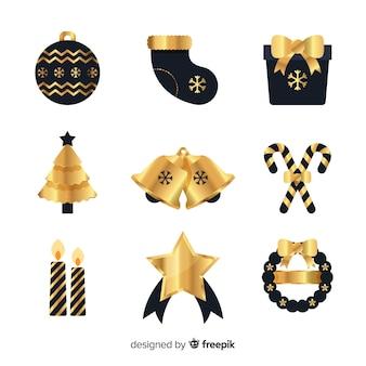 Elegante schwarze und goldene weihnachtselemente