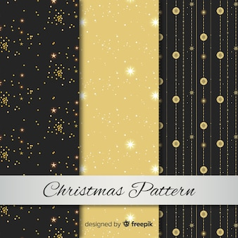 Elegante schwarze und goldene weihnachtsmustersammlung