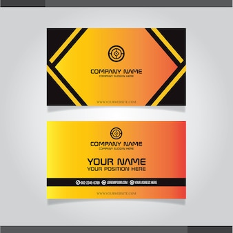 Elegante schwarze und orange visitenkarteschablone