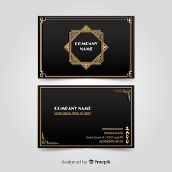 Elegante schwarze visitenkarte mit goldenen elementen