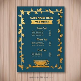 Elegante tee-menü-vorlage mit flachen design