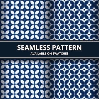 Elegante traditionelle indonesische batik nahtlose musterhintergrundtapete im klassischen blauen farbsatz