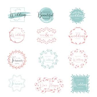 Elegante und feminine blumenhochzeits-logosammlung