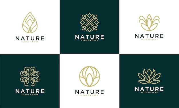 Elegante und luxuriöse naturlogo-designkollektion