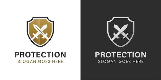 Elegante und luxuriöse rüstung schild und schwert logo design zwei versionen