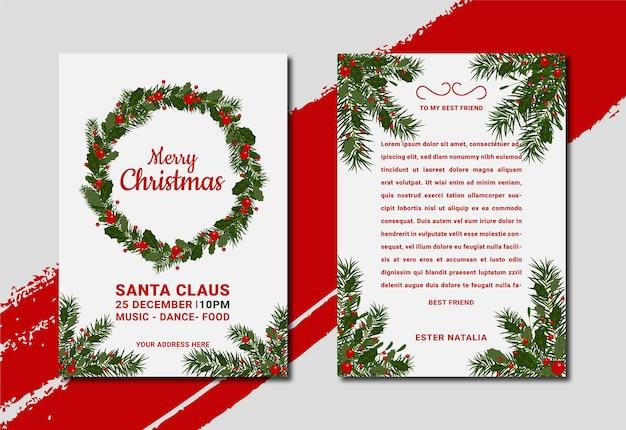 Elegante und minimale handgezeichnete weihnachtsgrußkarte