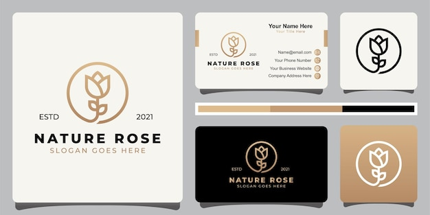 Elegante und minimalistische logos der schönheit der blumenrose mit strichgrafikart mit visitenkarte