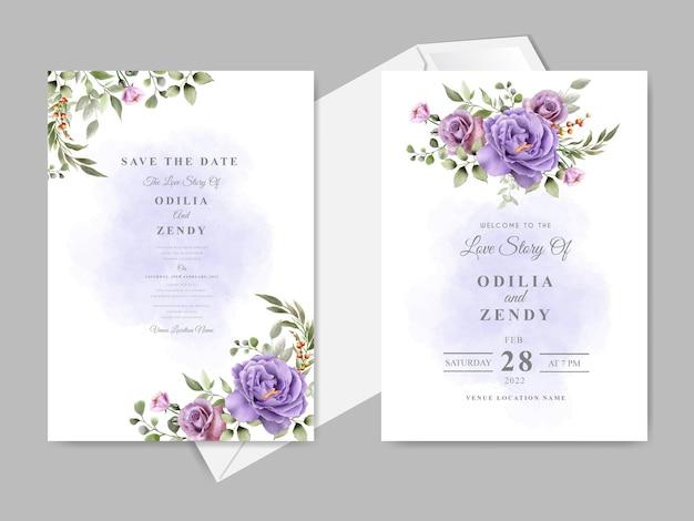 Elegante und schöne blumenhochzeitseinladungskartenschablone