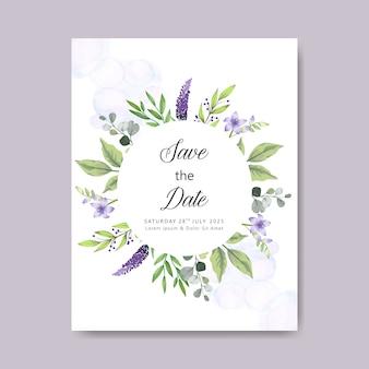 Elegante und schöne blumenhochzeitskartenschablone