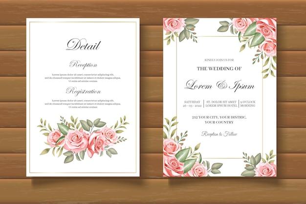 Elegante und schöne hochzeitseinladungskarte mit blumen
