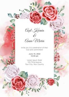 Elegante verlobungs-rosen-aquarell-hochzeits-einladung