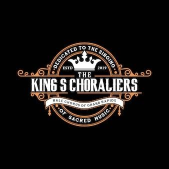 Elegante vintage logo-designschablone des abstrakten königs