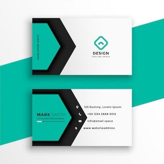 Elegante visitenkarte der sechseckigen form der türkisfarbe