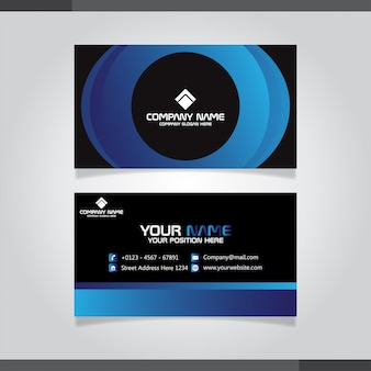 Elegante visitenkarte in blauen farben