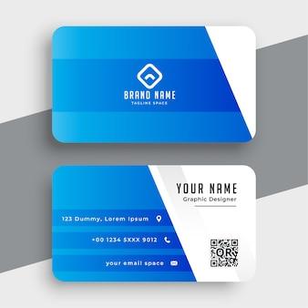 Elegante visitenkarte in blauer farbe