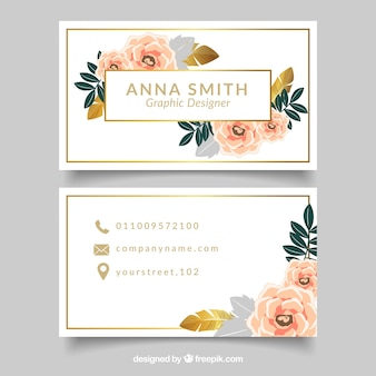 Elegante Visitenkarte mit Blumen und goldenen Details
