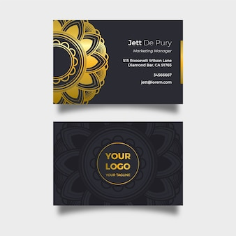 Elegante visitenkarte mit goldenem mandala