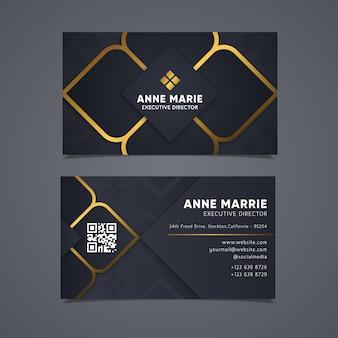Elegante visitenkarte mit goldenen linien