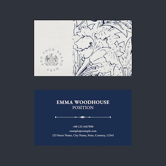 Elegante visitenkartenvorlage mit logo und blumengrafik