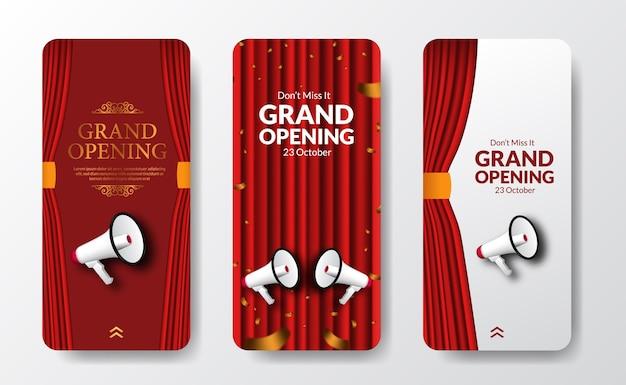 Elegante vorlage für die eröffnung oder wiedereröffnung von social-media-geschichten für das ankündigungsmarketing mit roter vorhangbühne und megaphon-lautsprecher