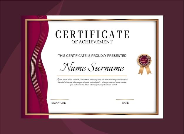 Elegante vorlage für zertifikatsleistungen