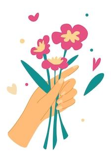 Elegante weibliche hände, die blumen halten. schnittblumen. dekoratives bouquet, floristische komposition mit blättern und blühen. romantisches geschenk zum valentinstag oder muttertag. vektor-illustration