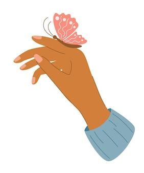 Elegante weibliche hand mit einem schmetterling. frauenhand mit einem schmetterling, der auf ihrem finger sitzt. maniküre der frau. für gruß- und einladungskarten, poster, banner, flyer, tasche vektor-illustration