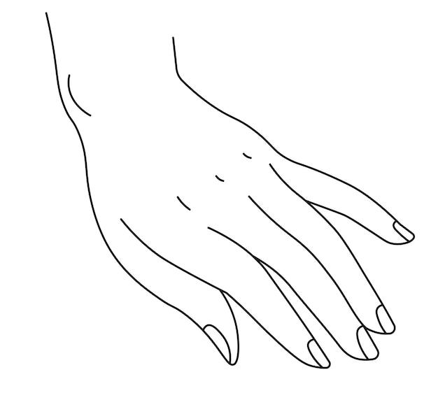 Elegante weibliche hand mit maniküre-gestenzeichen