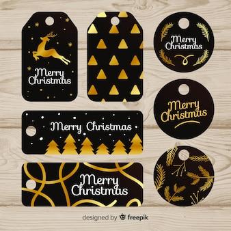 Elegante weihnachtsabzeichensammlung mit schwarzem und gold