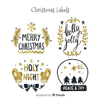 Elegante weihnachtsaufklebersammlung mit schwarzem und gold