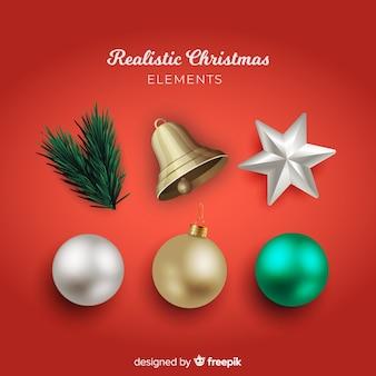 Elegante weihnachtselementsammlung mit realistischem design