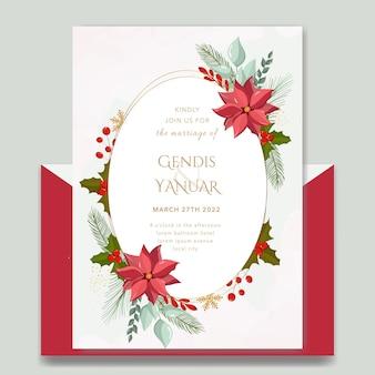 Elegante weihnachtshochzeitseinladungsschablone