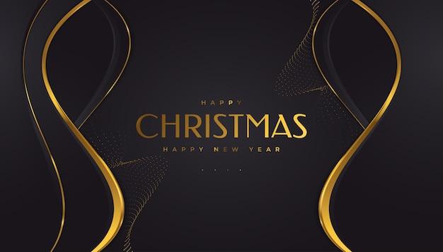 Elegante weihnachtskarte in schwarz und gold. frohe weihnachten und ein glückliches neues jahr gruß- oder einladungskarte