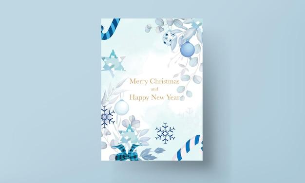 Elegante weihnachtskarte mit weißem weihnachtsschmuck