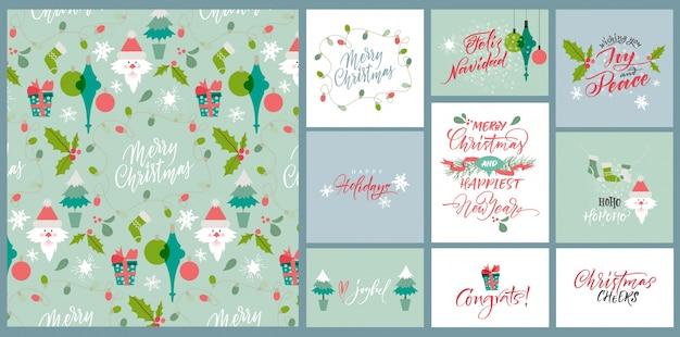 Elegante weihnachtskarten-sammlung