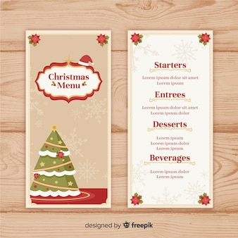Elegante weihnachtsmenüschablone mit weinleseart