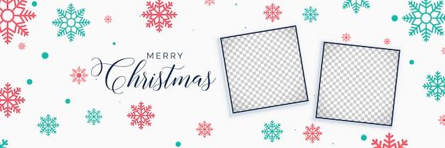Elegante weihnachtsschneeflockenfahne mit bildraum