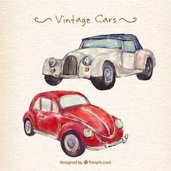 Elegante weinlese-aquarell autos