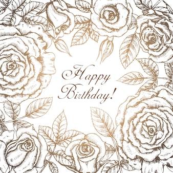 Elegante weinlesegrußkarte mit grafischen blumen (rosen).